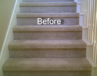 Engineered Santos Mahogany Stairs (before)