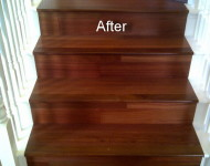 Engineered Santos Mahogany Turning stairs (after)