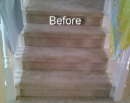 Engineered Santos Mahogany Turning stairs (before)