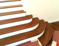 Amazing Turing Jatoba solid treads from Unfinished Square to final Turing finished – by Our In House Master Huy Hoang